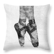 On Tippie Toes In Black And White Throw Pillow
