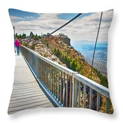 On Top Of Grandfather Mountain Mile High Bridge In Nc Throw Pillow