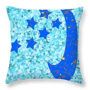 Once In A Blue Moon Also Got 5 Stars Signature Art  Navinjoshi Artist Created Images Textures Patter Throw Pillow