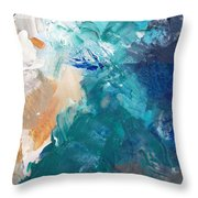 On A Summer Breeze- Contemporary Abstract Art Throw Pillow by Linda Woods