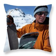 One Backcountry Skier Putting Skins Throw Pillow
