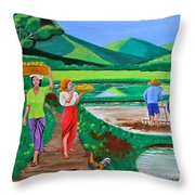 One Beautiful Morning In The Farm Throw Pillow