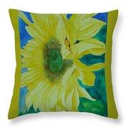 One Bright Sunflower Colorful Original Art Floral Flowers Artist K. Joann Russell Decor Art  Throw Pillow