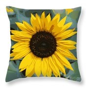 One Bright Sunflower - Digital Art Throw Pillow