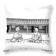 One Buddhist Monk Asks Another While Meditating Throw Pillow