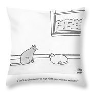 One Cat Speaks To Another Cat Throw Pillow