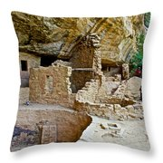 One End Of Spruce Tree House On Chapin Mesa In Mesa Verde National Park-colorado Throw Pillow