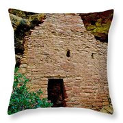 One Entry To Spruce Tree House On Chapin Mesa In Mesa Verde National Park-colorado  Throw Pillow