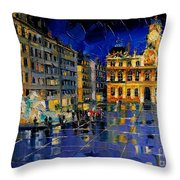 One Evening In Terreaux Square Lyon Throw Pillow
