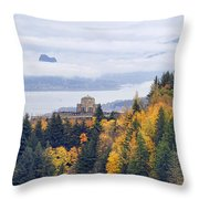 One Foggy Fall Day At Crown Point Throw Pillow