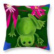 One Frogs Dinner Throw Pillow
