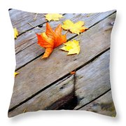 One Golden Leaf Throw Pillow