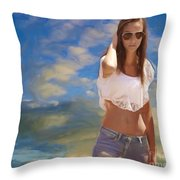 One Hot Day Throw Pillow