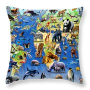 One Hundred Endangered Species Throw Pillow by Adrian Chesterman