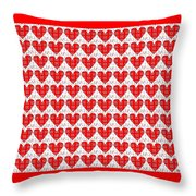 One Hundred Hearts Throw Pillow