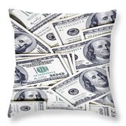 One Hunfre Dollar Bills Throw Pillow by Jan Tyler