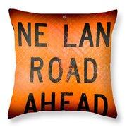 One Lane Road Throw Pillow
