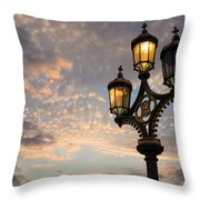 One Light Out - Westminster Bridge Streetlights - River Thames In London Uk Throw Pillow