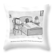 One Log Holds A Flashlight To His Face And Reads Throw Pillow