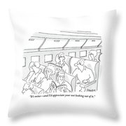 One Man, Sitting In The Window Seat Of A Plane Throw Pillow