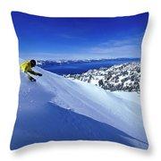 One Man Skiing In Powder High Throw Pillow