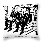 One Man Speaks To Another On An Airplane Throw Pillow