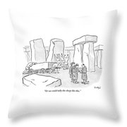 One Mans Shows A Stone Tablet With Tally Marks Throw Pillow