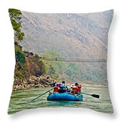 One Of Many Suspension Bridges Crossing The Seti River In Nepal Throw Pillow