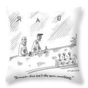 One Old Man Drinking At A Bar Speaks To Another Throw Pillow