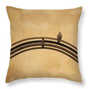 One Pigeon Perched On A Metallic Arch. Throw Pillow