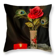 One Red Christmas Rose Throw Pillow