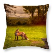 One Red Fox Throw Pillow
