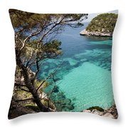 One Step To Paradise - Cala Mitjana Beach In Menorca Is A Turquoise A Cristaline Water Paradise Throw Pillow