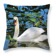 One Swan In The Lilies Throw Pillow