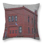 One Truck Fire Station Throw Pillow
