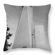 One W T C In Black And White Throw Pillow