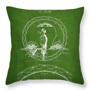 One Wheeled Vehicle Patent Drawing From 1885 - Green Throw Pillow