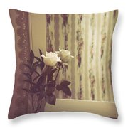 One White Rose Throw Pillow