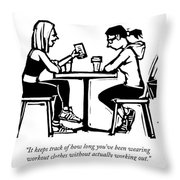 One Woman In Workout Clothes Shows A Phone App Throw Pillow