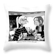 One Woman Speaks To Another Over Coffee Throw Pillow by William Haefeli