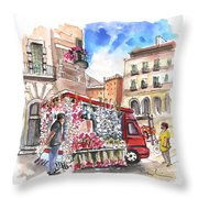 Onion And Garlic Street Seller In Siracusa Throw Pillow