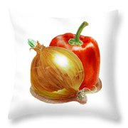 Onion And Red Pepper Throw Pillow