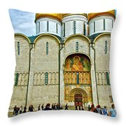 Onion Domes On Cathedral Of The Assumption Inside Kremlin In Moscow-russia Throw Pillow