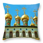 Onion Domes On Churches Of The Nativity And Deposition Of The Robe Inside Kreml Throw Pillow