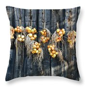 Onions And Barnboard Throw Pillow