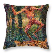 Only A Crazy Monkey Dances On A Tiger's Head Throw Pillow by James W Johnson