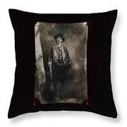 Only Authenticated Photo Of Billy The Kid Ft. Sumner New Mexico C.1879-2013 Throw Pillow