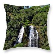 Opaekaa Falls In Kauai Throw Pillow