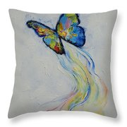 Opal Butterfly Throw Pillow by Michael Creese