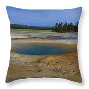 Opal Pool Panorama Yellowstone Throw Pillow